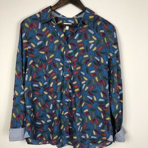Talbots Blue Feather Button Down Shirt size Large
